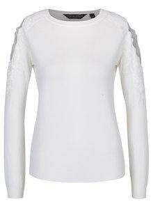 Krémový sveter s prestrihmi na ramenách a čipkovými detailmi Dorothy Perkins