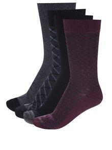 Sada čtyř párů ponožek v černé, šedé a vínové barvě Burton Menswear London