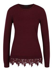 Vínový sveter s čipkovým lemom Dorothy Perkins