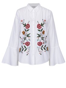 Biela košeľa s vyšitými kvetmi  Miss Selfridge