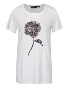 Krémové tričko s aplikáciou z flitrov v tvare ruže Dorothy Perkins