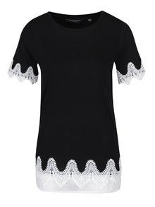 Tricou negru cu aplicații din macrame Dorothy Perkins