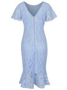 Světle modré krajkové midišaty s volánem a výstřihem na zádech Dorothy Perkins