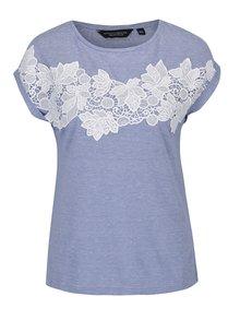 Modré pruhované tričko s čipkou Dorothy Perkins