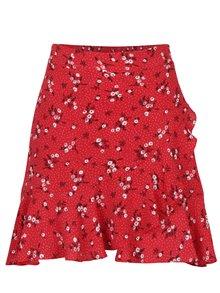 Červená květovaná mini sukně s volánem Miss Selfridge Petites