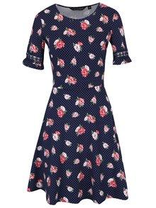 Tmavomodré kvetované šaty s čipkovými lemami na rukávoch Dorothy Perkins