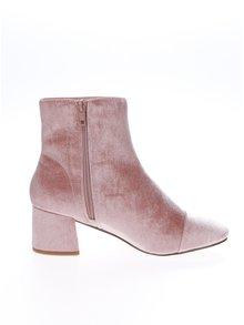 Ružové zamatové členkové topánky Miss Selfridge