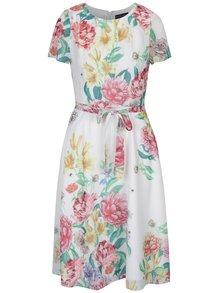 Krémové kvetované šaty so zaväzovaním v páse Dorothy Perkins