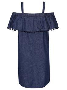 Tmavomodré rifľové šaty s odhalenými ramenami a plastickými detailmi Dorothy Perkins