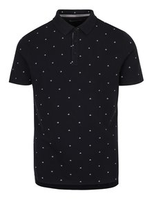 Čierna pánska polokošeľa s jemným vzorom Calvin Klein Jeans Pertol