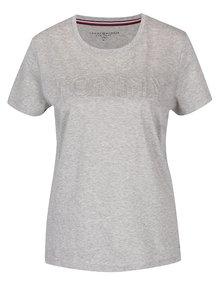Svetlosivé dámske tričko Tommy Hilfiger Tommy Embossed