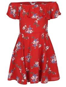 Červené kvetované šaty s odhalenými ramenami Miss Selfridge