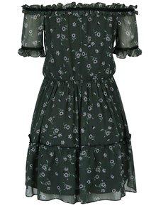 Tmavozelené šaty s odhalenými ramenami Miss Selfridge