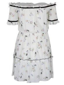 Krémové kvetované šaty s odhalenými ramenami Miss Selfridge