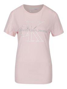 Světle růžové dámské tričko s potiskem Calvin Klein Jeans Tanya