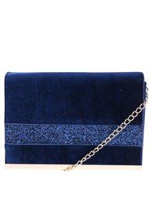 Modrá zamatová listovka s trblietavými detailmi Dorothy Perkins