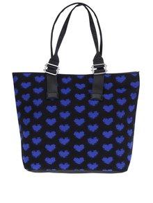 Geantă shopper neagră cu model albastru cu inimioare Dorothy Perkins