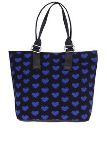 Modro-černý shopper s motivem srdcí Dorothy Perkins