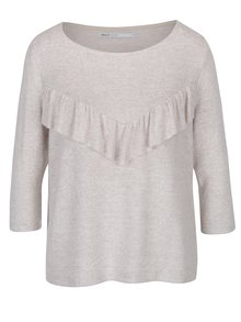 Béžový melírovaný voľný sveter s volánom ONLY Maye