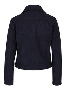 Tmavomodrá koženková bunda v semišovom spracovaní Jacqueline de Yong Penny