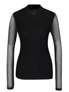 Černé tričko se stojáčkem a průsvitným zadním dílem ONLY Erica