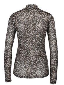 Černo-béžové vzorované tričko se stojáčkem a průsvitným zadním dílem ONLY Erica