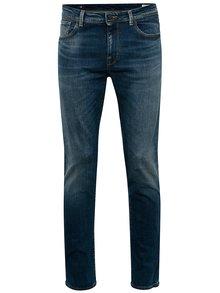 Modré slim fit džíny s vyšisovaným efektem Selected Homme Slim