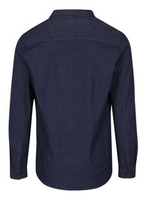 Tmavomodrá košeľa s čiernymi gombíkmi Burton Menswear London