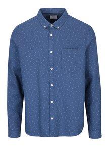Tmavomodrá vzorovaná košeľa s náprsným vreckom Burton Menswear London
