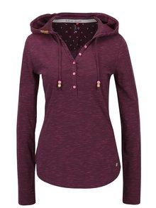 Vínové žíhané tričko s kapucí Ragwear Drop