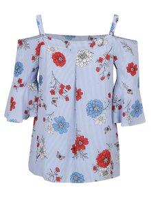 Modrá kvetovaná blúzka s odhalenými ramenami Dorothy Perkins Curve