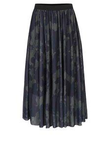 Kaki tylová midi sukňa s maskáčovým vzorom ONLY Erica