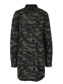 Khaki dlouhá košile s maskáčovým vzorem ONLY Hilde