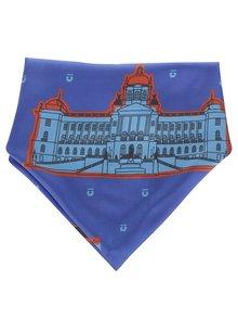 Tmavomodrá hodvábna šatka s motívmi pražských pamiatok Emblemm