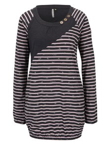 Bluză lungă roz&negru cu mâneci lungi și dungi Ragwear Linny Organic