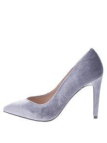 Pantofi stiletto gri deschis cu aspect catifelat - Dorothy Perkins