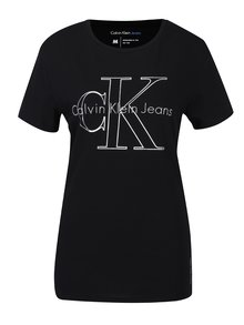 Černé dámské tričko s potiskem Calvin Klein Jeans Tanya