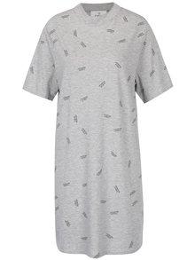 Rochie tricou gri cu logo imprimeu Cheap Monday Smash