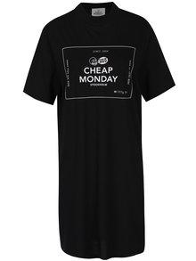 Čierne voľné šaty s krátkym rukávom a potlačou Cheap Monday Smash