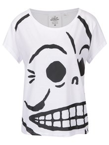 Tricou alb oversized cu logo print Cheap Monday Huge Skull