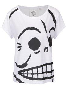 Biele dámske oversize tričko s potlačou Cheap Monday Huge Skull
