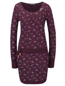 Vínové vzorované šaty s dlhým rukávom Ragwear Penelope