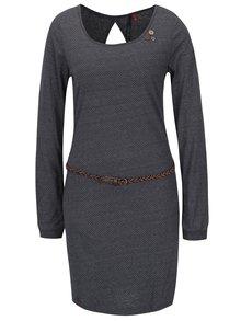 Tmavě šedé puntíkované šaty s páskem Ragwear Loco