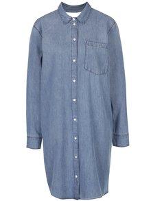 Modré rifľové košeľové oversize šaty s prestrihom na chrbte Cheap Monday Anti