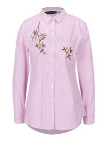 Krémovo-ružová pruhovaná košeľa s výšivkami Dorothy Perkins
