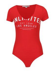Body roșu cu print text - TALLY WEiJL