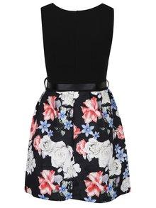 Čierne šaty s kvetovanou sukňou a zaväzovaním v páse Haily´s Sovia