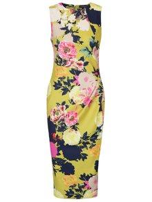 Růžovo-žluté květované pouzdrové šaty s řasením na boku Dorothy Perkins Tall