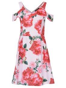 Červeno-růžové květované šaty s průstřihy na ramenou Dorothy Perkins