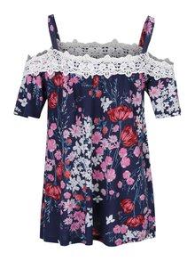 Tmavomodrý kvetovaný top s odhalenými ramenami Dorothy Perkins